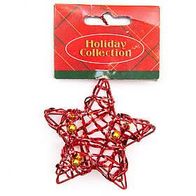 Елочная игрушка из проволоки - Красная звезда, 7,6 см, красный, металл, пластик (000685-6)