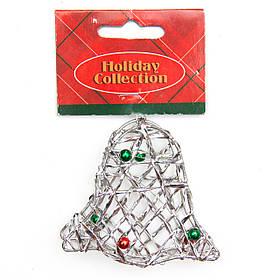 Елочная игрушка из проволоки - Серебряный колокольчик, 7,6 см, серебристый, металл, пластик (000685-8)
