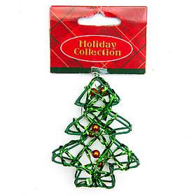 Елочная игрушка из проволоки - Зеленая елочка, 7,6 см, зеленый, металл, пластик (000685-10)