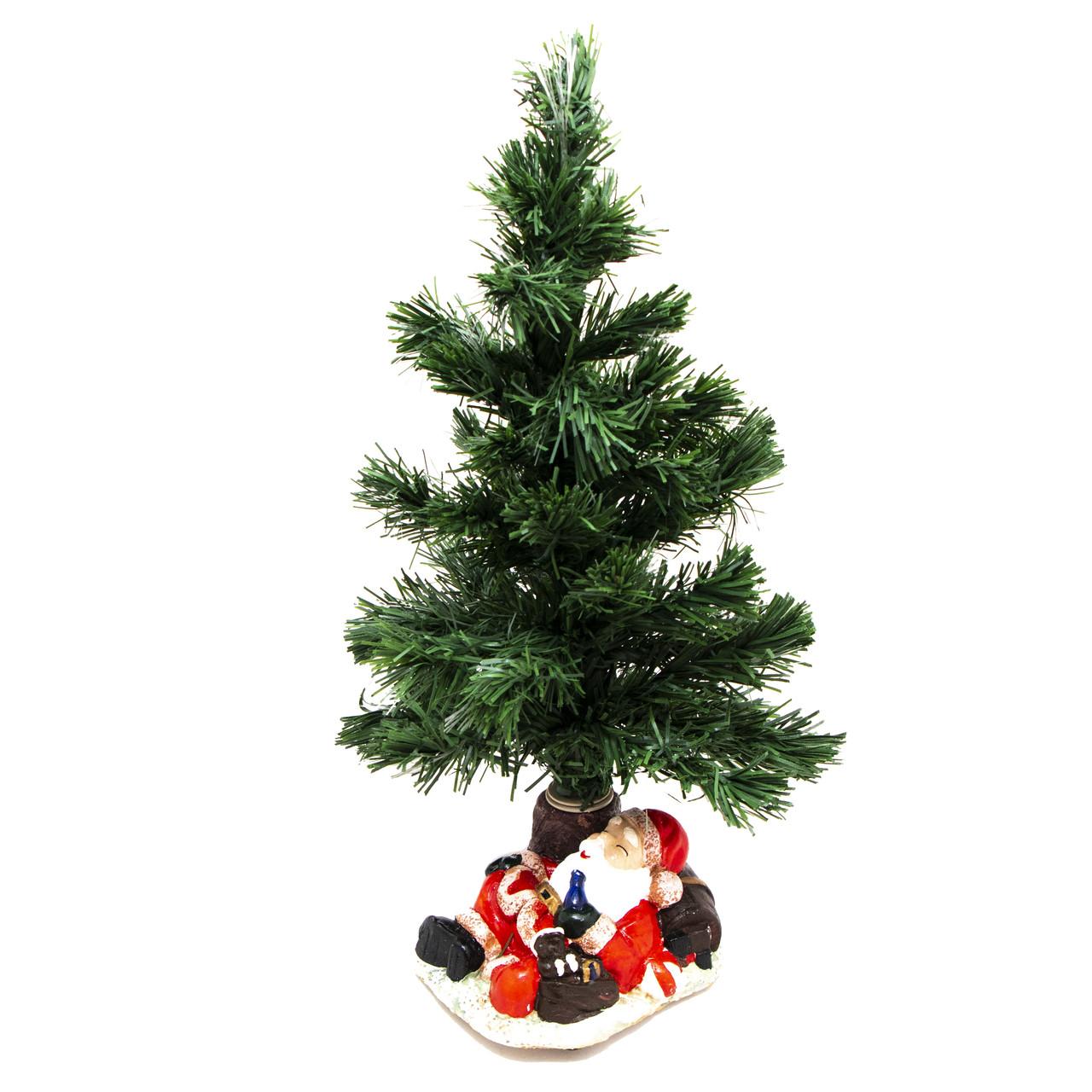 Елка ПВХ на подставке с Дедом Морозом 11,5*9*36,5см (011407)