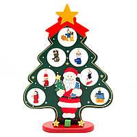 Новогодняя игрушка - елка на деревянной подставке, 27 см, 20*26 см, зеленый, дерево (060504)