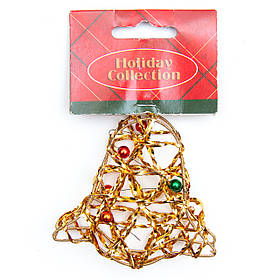 Елочная игрушка из проволоки - Золотой колокольчик, 7,6 см, золотистый, металл, пластик (000685-2)