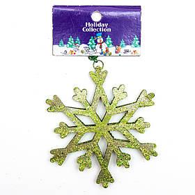 Елочная игрушка на подвеске - Зеленая снежинка, 10 см, зеленый, металл (000722-10)