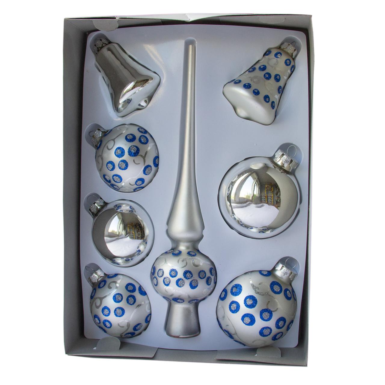Набор елочных шаров с верхушкой, 8шт, стекло, серебро точки (390281-18)