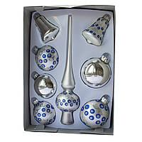 Набор елочных шаров с верхушкой, 8шт, стекло, серебро точки (390281-18), фото 1