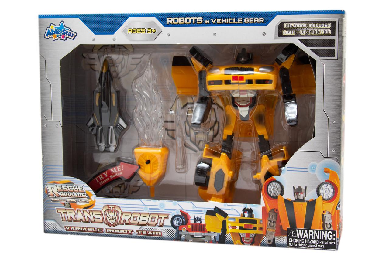 Трансформер робот со световыми эффектами, желтый джип, пластик (78115-65-5)