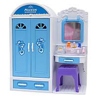 """Мебель для кукол спальня, кровать, шкаф, столик """"Современный дом"""" Барби, Брац, голубая, 55х9х31 см (25238B)"""