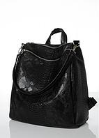 Сумка-рюкзак Sambag Тауни змеиный принт 30*31*15 см черный