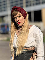 Повязка на голову женская демисезонная двойная чалма тюрбан  шерстяная бордовая