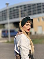 Повязка на голову женская демисезонная двойная чалма тюрбан  шерстяная шерсть зеленая