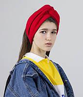 Об'ємна пов'язка на голову жіноча червона замша, фото 1