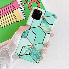 Силіконовий чохол USLION для Apple iPhone 11 з геометричним принтом під мармур, фото 2