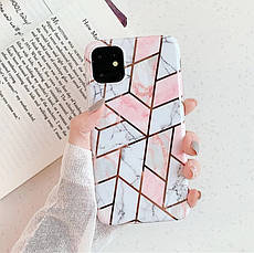 Силиконовый чехол USLION для Apple iPhone 11 с геометрическим принтом под мрамор, фото 2