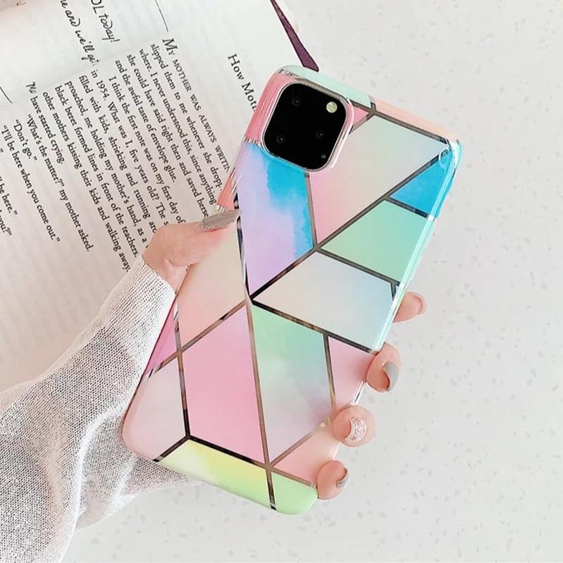 Силиконовый чехол USLION для Apple iPhone 11 с геометрическим принтом под мрамор