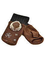 PODIUM Перчатка Женская вязка FO-3 brown Распродажа