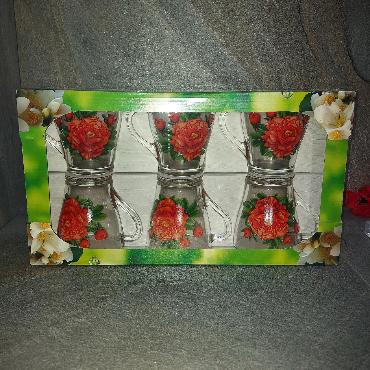 Набор чайных стеклянных кружек с цветами ОСЗ Грация (8254)