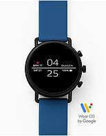 Смарт часы Skagen Falster 2 Smartwatch Google Wear OS с NFC Черный корпус и синий силиконовый ремешок