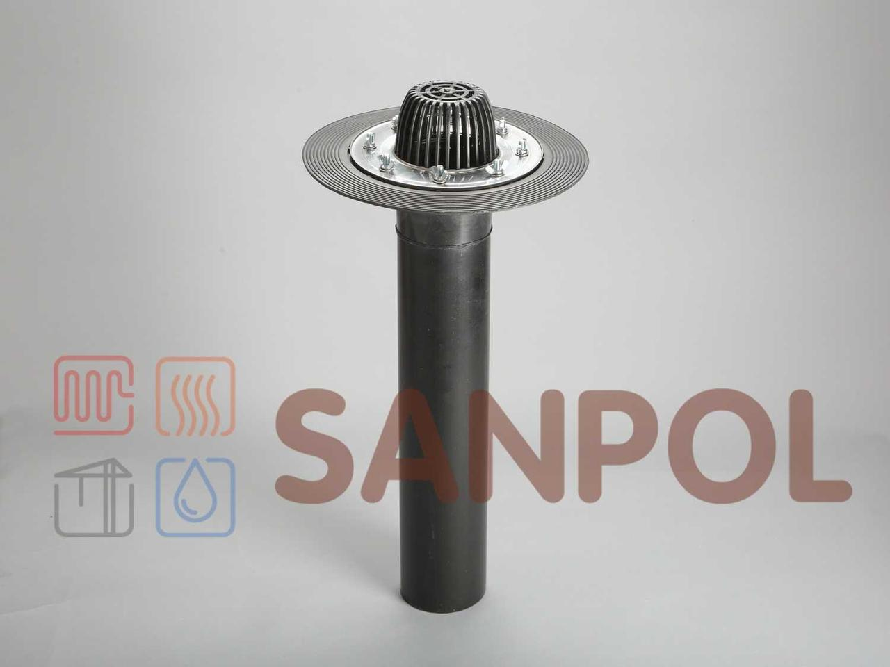 Воронка кровельная SANPOL 110/600мм с нержавеющим фланцем, битумным фартуком