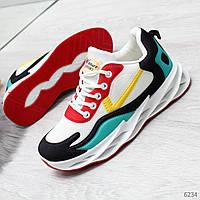 Разноцветные комбинированные женские кроссовки мультиколор