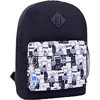 Школьный городской рюкзак Bagland для девочки и мальчика 17 л. черный котики черно-белые