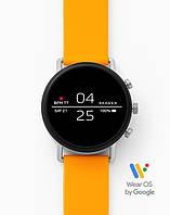 Смарт часы Skagen Falster 2 Smartwatch Googlr Wea OS с NFC Серебристый корпус и желтый силиконовый ремешок
