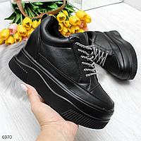 Крутые черные женские кроссовки сникерсы на платформе
