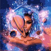 Картина за номерами 50х50 см. Володарка всесвіту з фарбами металік. Ідейка.