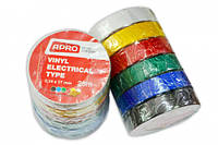 Набор изолент 6 штук 0,14ммx17ммx10м черн, синяя, красн, жел, зел, бел. (универсальный) APRO