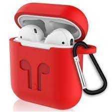 Чехол для AirPods case с карабином (Красный)