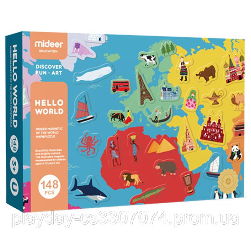 """Магнитная книга """"Карта Мира Hello World"""",MiDeer"""
