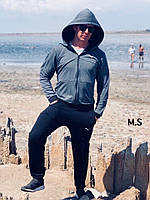 Мужской спортивный костюм 034 (L(46-48),XL(48-50),XXL(52-54) (цвета: т.серый+черный) СП, фото 1