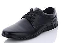 Мужские черные туфли комфорт из натуральной кожи Kangfu