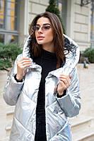 Куртка зимняя женская капюшон с воротником-стойкой на скрытых кнопках
