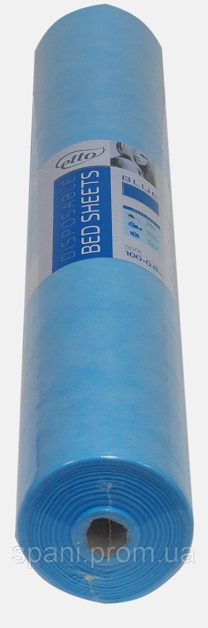 Простынь одноразовая Etto в рулоне, СМС (уплотненный спандбонд) 0,8х200 м., голубой