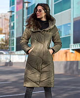 Куртка зимняя женская капюшон с воротником-стойкой