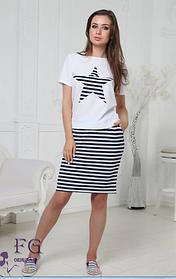 Летний женский костюм юбка с футболкой больших размеров
