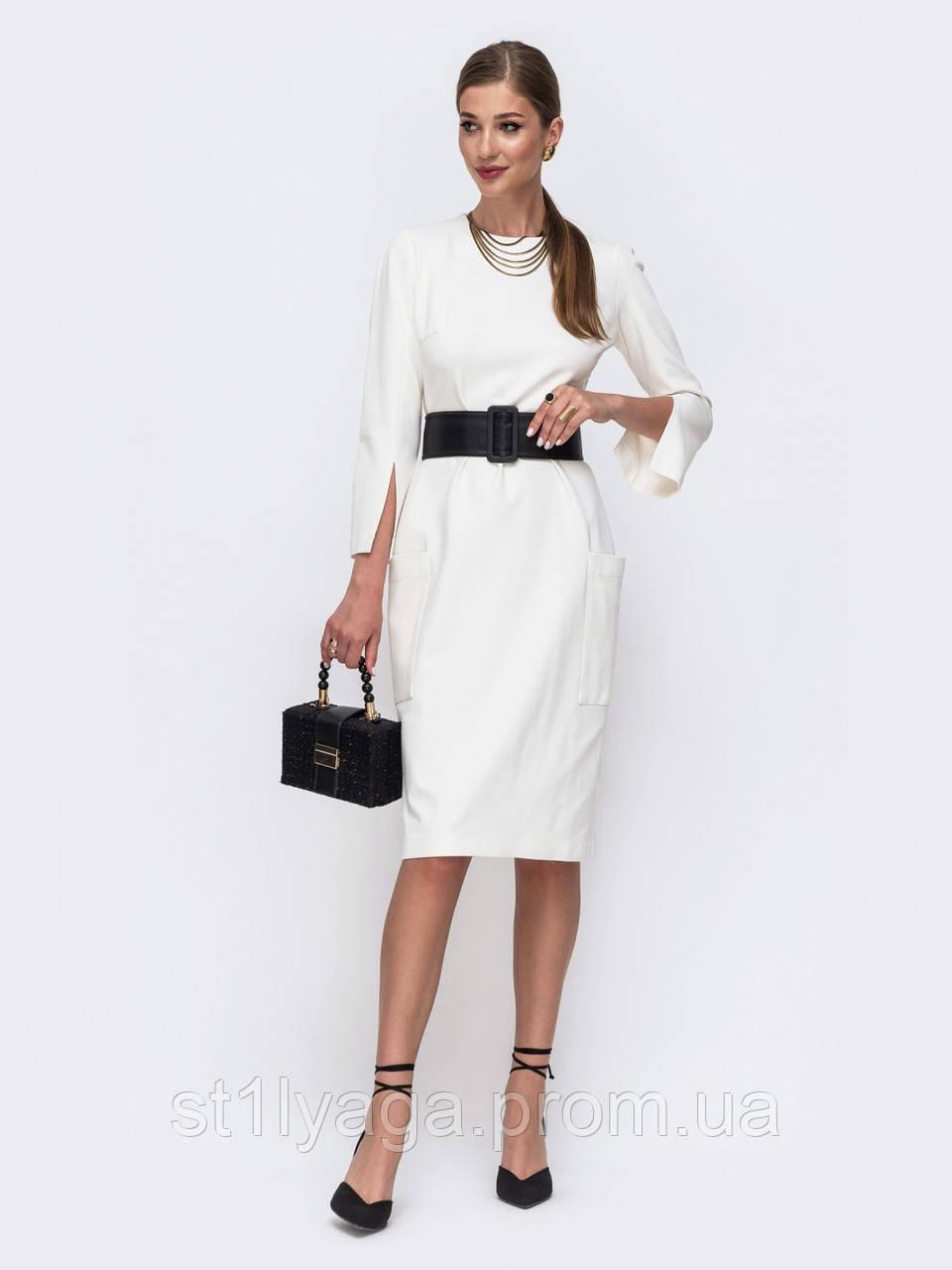 Елегантне плаття довжиною міді з накладними кишенями колір молочний