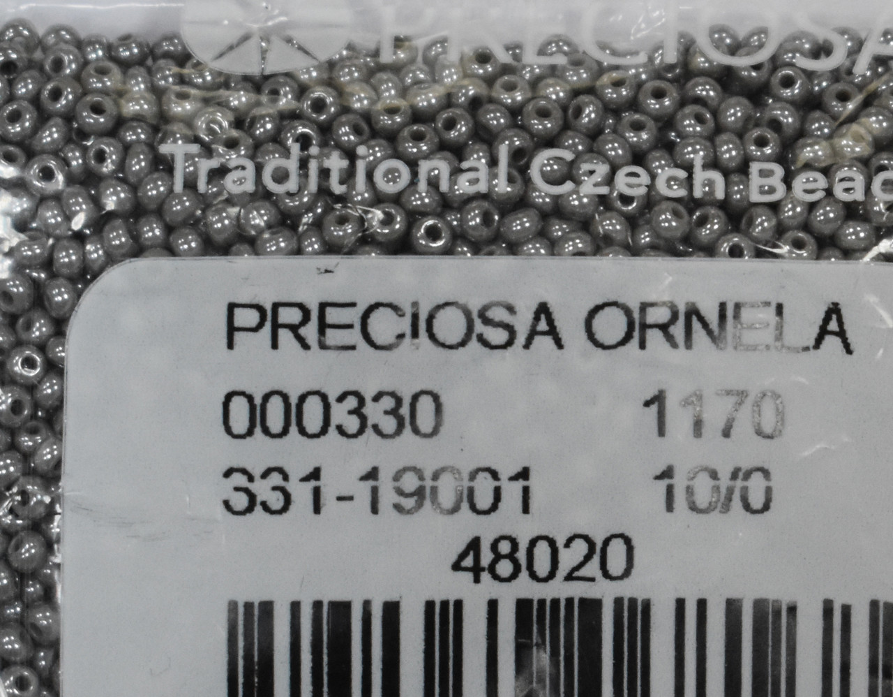 Бісер Preciosa 10/0 колір 48020 сірий 10г