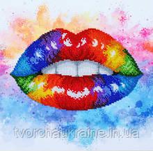 Т-1261 Красочные губы. ВДВ. 25х25 см. Схема на ткани для вышивания бисером