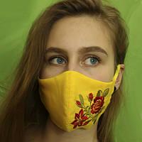 Многоразовая двухслойная маска Yellow с вышивкой розы, модель 7.21