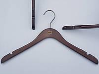 Плечики длина 42 см вешалки тремпеля Mainetti Mexx с антискользящей резинкой цвета под красное дерево