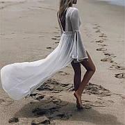 Пляжный халат  накидка белая длинная с рукавами