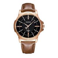 Мужские Оригинальные наручные часы Yazole Quartz 358 Cuprum-Black-Brown