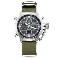 Мужские Оригинальные наручные часы AMST 3003 Silver-Black Green Wristband