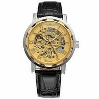 Мужские Оригинальные наручные часы Winner 8012С Black-Silver-Gold