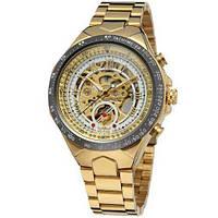 Мужские Оригинальные наручные часы Winner 8067 Gold-Black-White Red Cristal