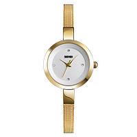 Женские Оригинальные наручные часы Skmei 1390 Gold-White