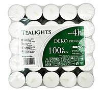 Свечи-таблетки чайные BISPOL® 100 шт 4 часа горения премиум качества плавающие декоративные