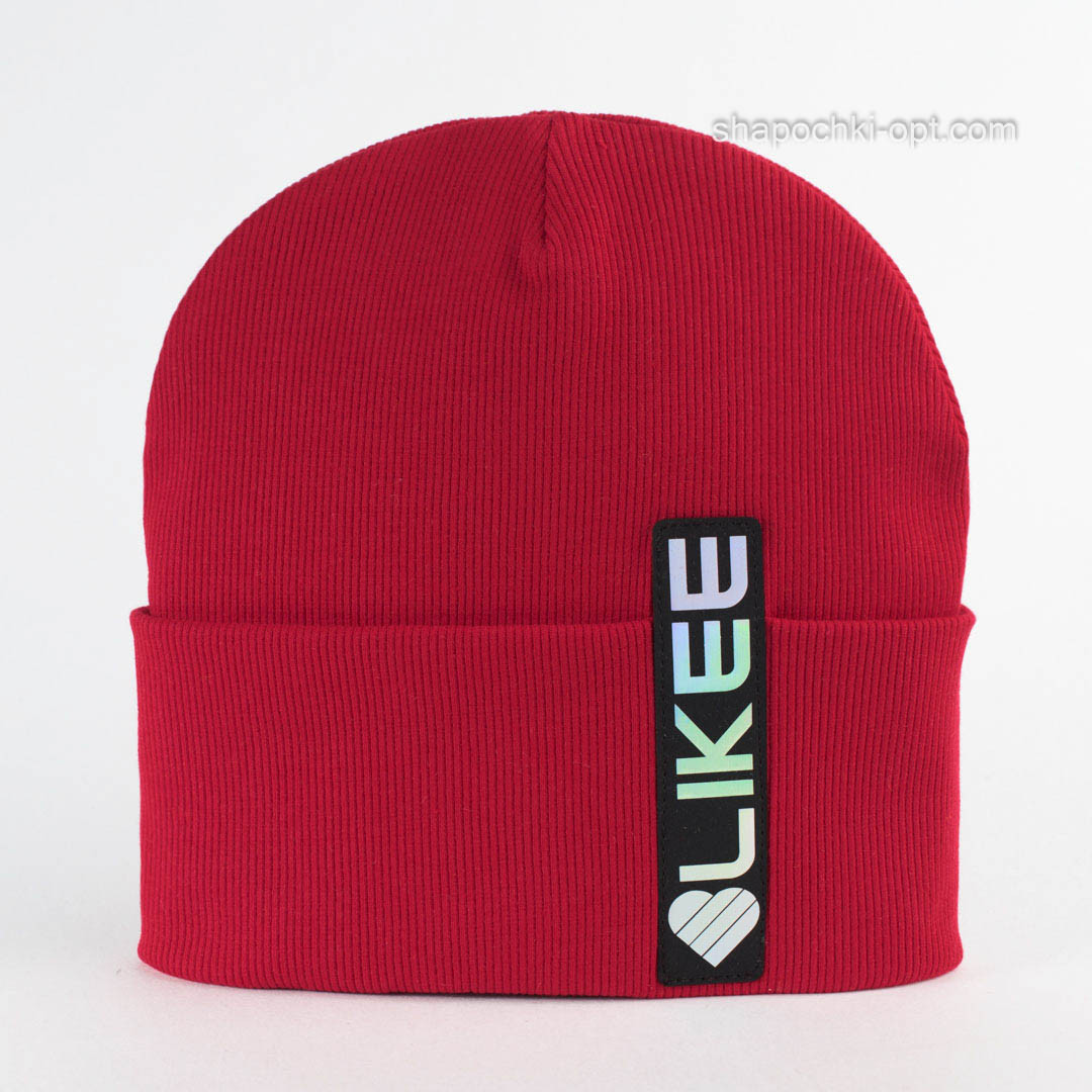 Модная трикотажная шапочка Дана красного цвета