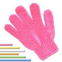 Перчатка мочалка вязанная для душа скуббер массажная цветная
